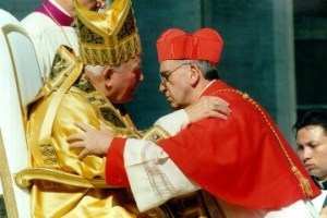 Pope John  Paul receives Cardinal Jorge Mario Bergoglio, Archbishop of Buenos Aires, Argentina during his installation as Cardinal in 2001